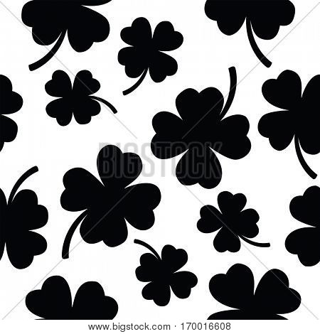 seamless four leaf clover pattern on white background
