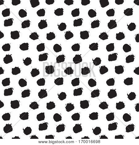 Retro ink brush painted polka dot pattern. Black and white grunge pattern. Can be used for tags, flyers, banners, web, print, textile and paper designs