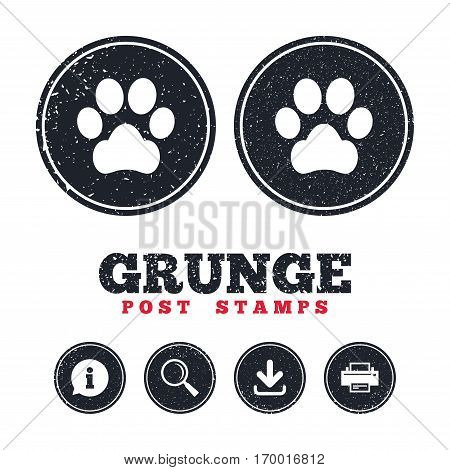 Grunge post stamps. Dog paw sign icon. Pets symbol. Information, download and printer signs. Aged texture web buttons. Vector