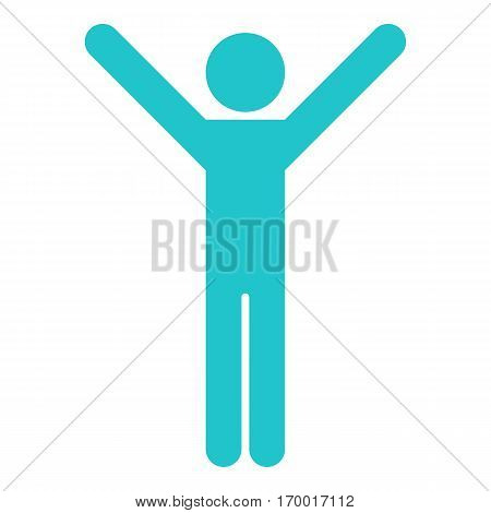 Man stands with raised his hands. Quick and easy recolorable shape. Vector illustration a graphic element