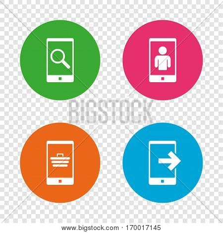 Phone icons. Smartphone video call sign. Search, online shopping symbols. Outcoming call. Round buttons on transparent background. Vector
