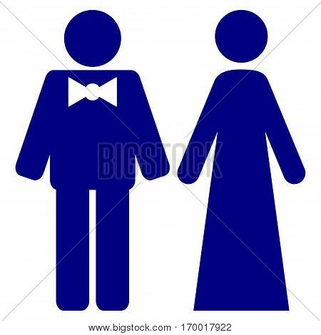 Just Married Persons vector icon symbol. Flat pictogram designed with navy blue and isolated on a white background.