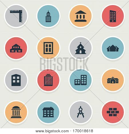 Set Of 16 Simple Construction Icons. Can Be Found Such Elements As Academy, Structure, Residence And Other.
