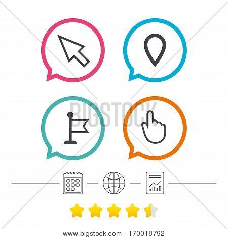 Mouse cursor icon. Hand or Flag pointer symbols. Map location marker sign. Calendar, internet globe and report linear icons. Star vote ranking. Vector