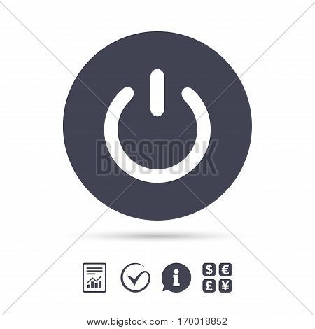 Power sign icon. Switch on symbol. Turn on energy. Report document, information and check tick icons. Currency exchange. Vector