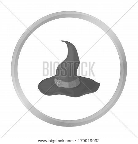 Witch's hat icon in monochrome style isolated on white background. Hats symbol vector illustration.
