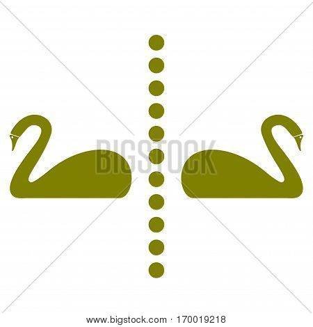 Separate Swans vector icon symbol. Flat pictogram designed with olive and isolated on a white background.