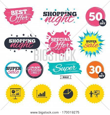 Sale shopping banners. Special offer splash. Diagram graph Pie chart icon. Presentation billboard symbol. Supply and demand. Man standing with pointer. Web badges and stickers. Best offer. Vector