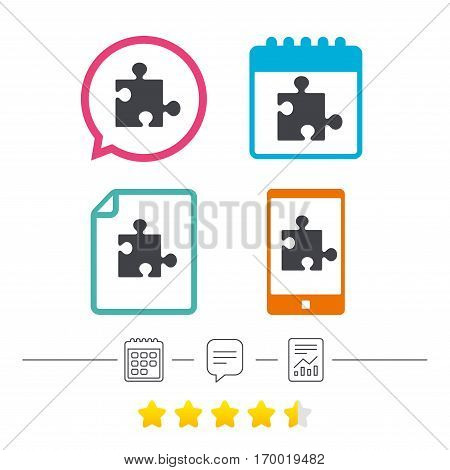 Puzzle piece sign icon. Strategy symbol. Calendar, chat speech bubble and report linear icons. Star vote ranking. Vector