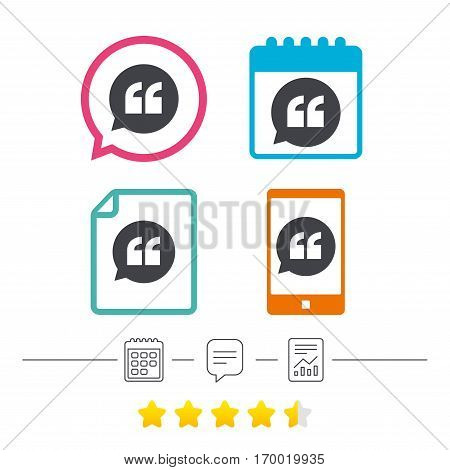 Quote sign icon. Quotation mark in speech bubble symbol. Double quotes. Calendar, chat speech bubble and report linear icons. Star vote ranking. Vector