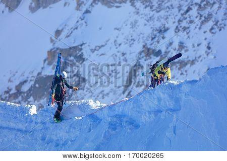 Alpinists climbing in Haute Savoie, France