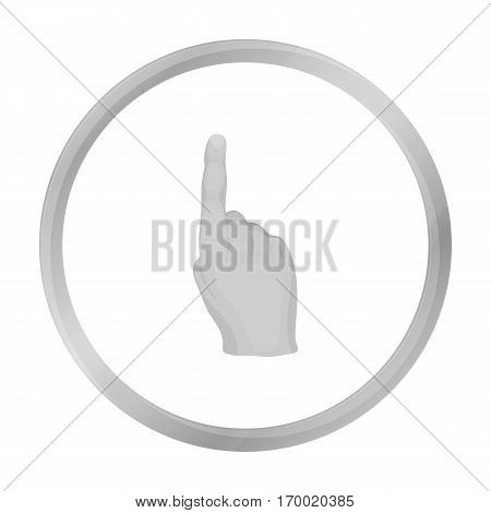 Raised index finger icon in monochrome style isolated on white background. Hand gestures symbol vector illustration.