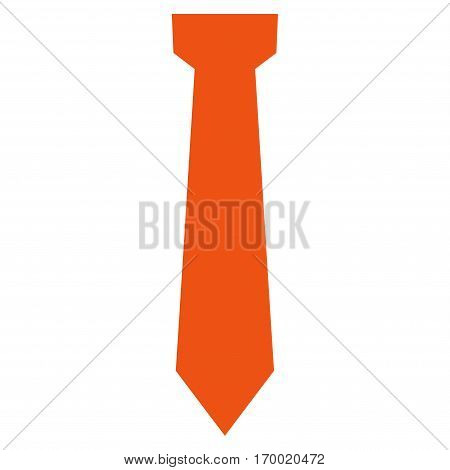 Tie vector icon symbol. Flat pictogram designed with orange and isolated on a white background.