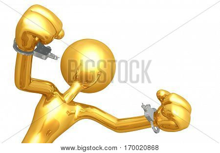 Law Legal Concept With The Original 3D Character Illustration Breaking Handcuffs
