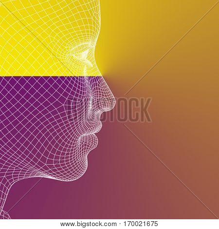 Concept conceptual 3D illustration wireframe young human female or woman face or head on purple orange background for technology, cyborg, digital, virtual, avatar, model, science, fiction, future mesh