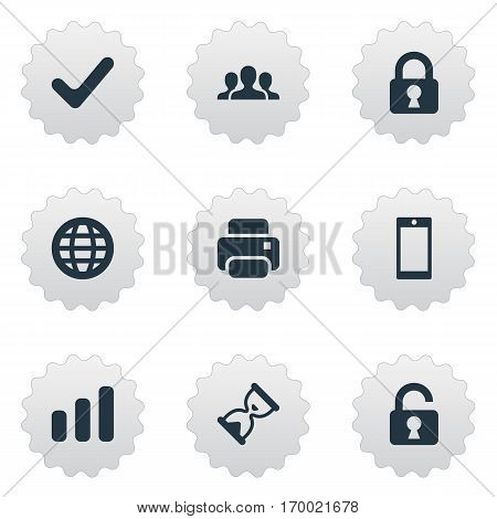 Set Of 9 Simple Practice Icons. Can Be Found Such Elements As Printout, Community, Smartphone And Other.