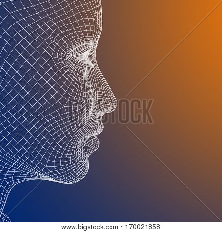 Concept or conceptual 3D illustration wireframe young human female or woman face or head on blue orange background for technology, cyborg, digital, virtual, avatar, model, science, fiction or future
