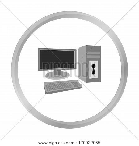 Locked computer icon in outline design isolated on white background. Hackers and hacking symbol stock vector illustration.