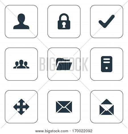 Set Of 9 Simple Apps Icons. Can Be Found Such Elements As Arrows, Dossier, User And Other.
