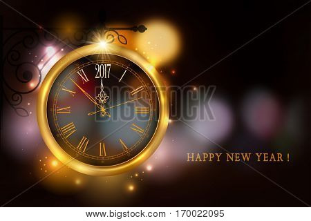New Year is coming. Vintage golden clock on bracket with 2017 digits on the magic night background with bokeh. Vector illustration.