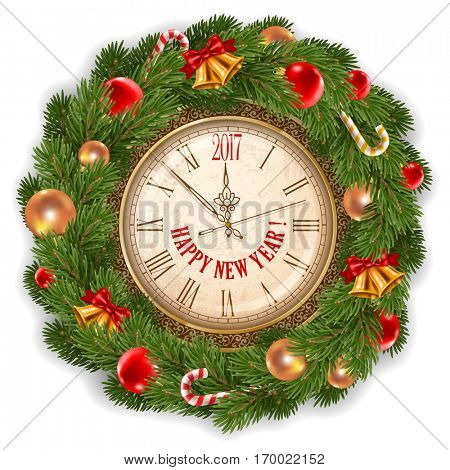 New Year is coming. Vintage clock with inscription Happy New Year and 2017 digits decorated holiday traditional wreath from spruce branches and Christmas decorations. Isolated vector illustration.
