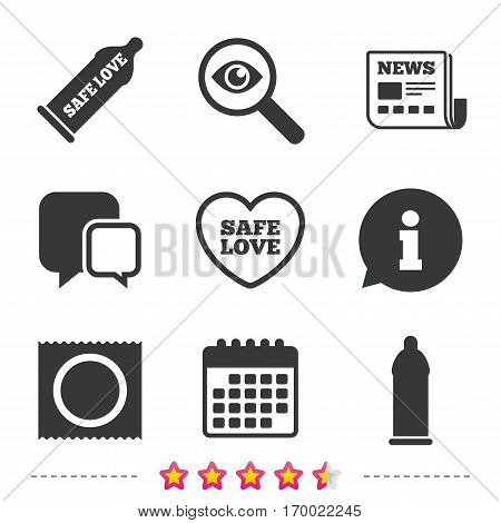 Safe sex love icons. Condom in package symbol. Fertilization or insemination. Heart sign. Newspaper, information and calendar icons. Investigate magnifier, chat symbol. Vector