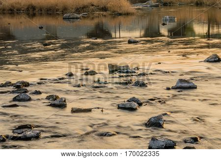 Landscape of a river with a rocky riverbed and golden reeds reflecting in the water in the background