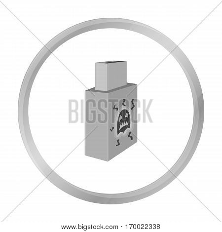 USB with virus icon in outline design isolated on white background. Hackers and hacking symbol stock vector illustration.