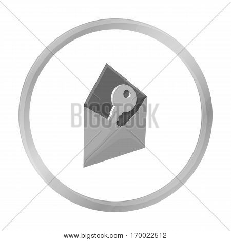 E-mail with key password icon in outline design isolated on white background. Hackers and hacking symbol stock vector illustration.