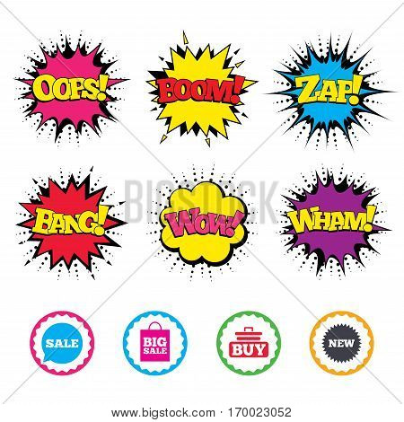 Comic Wow, Oops, Boom and Wham sound effects. Sale speech bubble icon. Buy cart symbol. New star circle sign. Big sale shopping bag. Zap speech bubbles in pop art. Vector