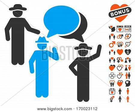 Gentlemen Discussion pictograph with bonus lovely symbols. Vector illustration style is flat iconic elements for web design app user interfaces.