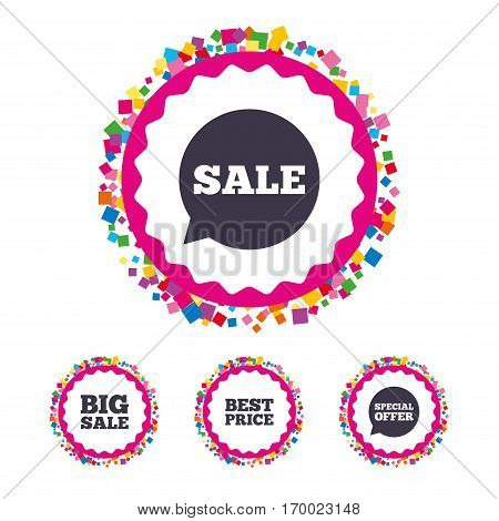 Web buttons with confetti pieces. Sale icons. Special offer speech bubbles symbols. Big sale and best price shopping signs. Bright stylish design. Vector