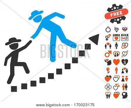 Gentlemen Education Growth pictograph with bonus decoration graphic icons. Vector illustration style is flat iconic symbols for web design app user interfaces.