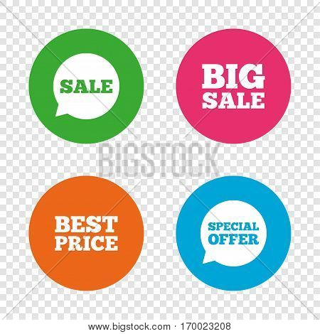 Sale icons. Special offer speech bubbles symbols. Big sale and best price shopping signs. Round buttons on transparent background. Vector