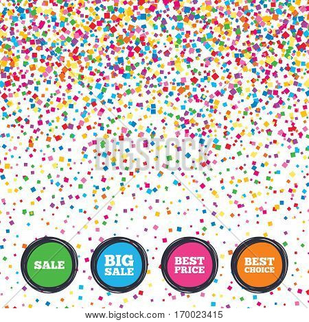 Web buttons on background of confetti. Sale icons. Best choice and price symbols. Big sale shopping sign. Bright stylish design. Vector