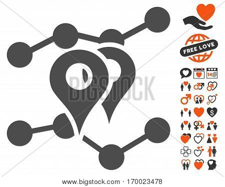Geo Markers Trends pictograph with bonus valentine clip art. Vector illustration style is flat iconic elements for web design app user interfaces.