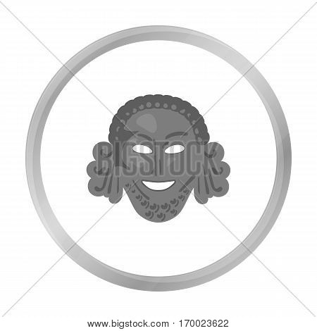 Greek antique mask icon in monochrome style isolated on white background. Greece symbol vector illustration.