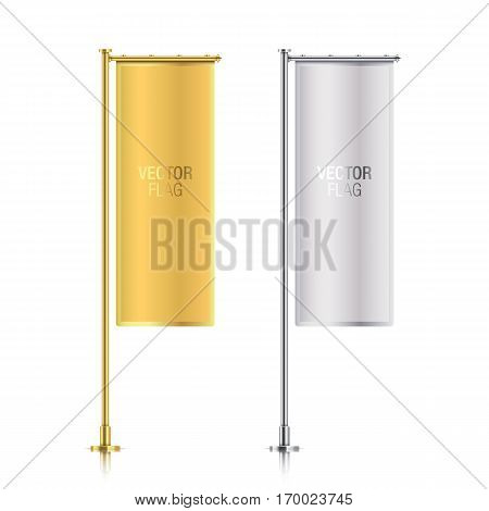 Set of golden and silver vector banner flag templates, hanging on poles. Golden and silver elegant vertical flag mockups, isolated on a white background.