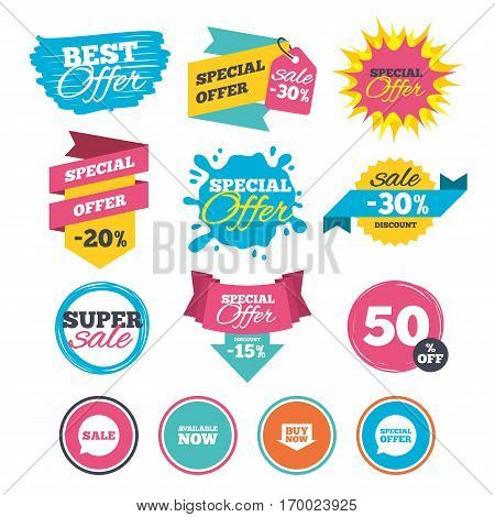 Sale banners, online web shopping. Sale icons. Special offer speech bubbles symbols. Buy now arrow shopping signs. Available now. Website badges. Best offer. Vector