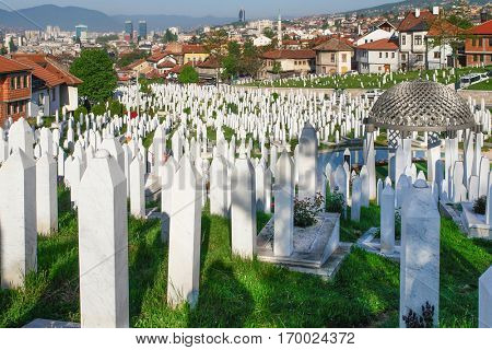 Tombstones in Sarajevo, the capital city of Bosnia and Herzegovina