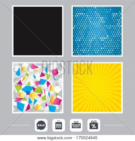 Carbon fiber texture. Yellow flare and abstract backgrounds. Sale speech bubble icon. Black friday gift box symbol. Big sale shopping bag. Discount percent sign. Flat design web icons. Vector