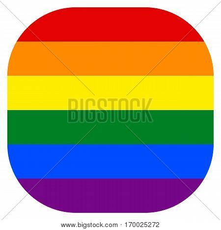 Rainbow pride flag LGBT movement in rounded square shape. Quick and easy re-colorable shape. Vector illustration a graphic element.