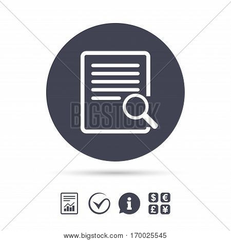 Search in file sign icon. Find in document symbol. Report document, information and check tick icons. Currency exchange. Vector