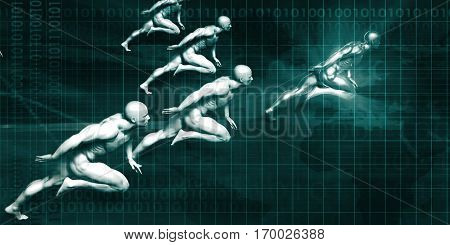 Logistics Delivery with Men Running at Full Speed 3D Render