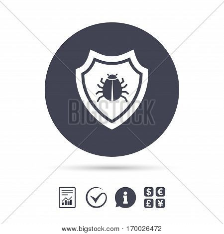 Shield sign icon. Virus protection symbol. Bug symbol. Report document, information and check tick icons. Currency exchange. Vector