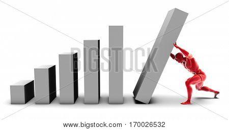 Man Pushing Up Bar Chart Block as the Final Piece 3D Illustration Render