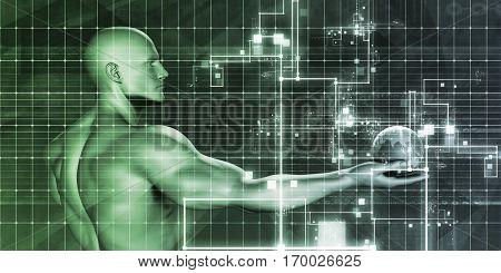 CMS Technology or Content Management System Tech 3D Illustration Render