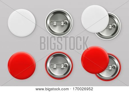 Blank white and red badges. Pin button. 3d vector realistic mockup poster
