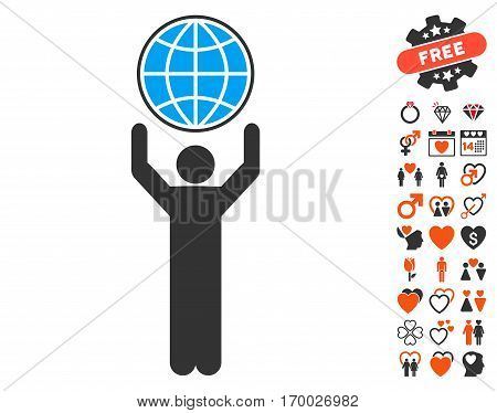 Globalist pictograph with bonus love symbols. Vector illustration style is flat iconic symbols for web design app user interfaces.