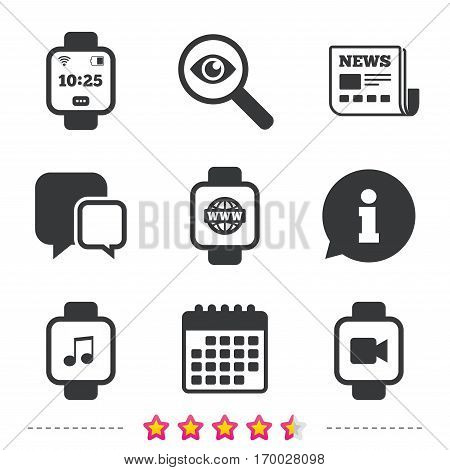 Smart watch icons. Wrist digital time watch symbols. Music, Video, Globe internet and wi-fi signs. Newspaper, information and calendar icons. Investigate magnifier, chat symbol. Vector